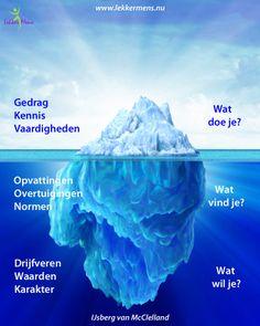 Het zichtbare ligt boven water. De oorzaak van ons gedrag ligt onder het wateroppervlak.